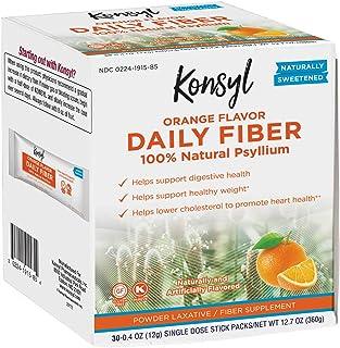 Konsyl Daily Fiber Orange 100% Natural Psyllium Husk Powder - Naturally Sweetened - Gluten Free - 30 Individual Stickpacks
