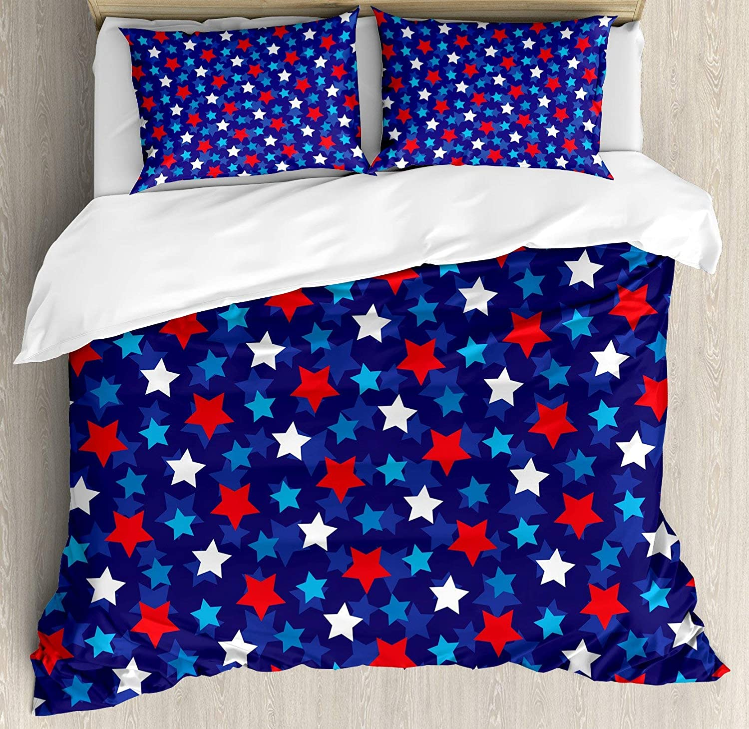 Navy bluee 4pc Bedding Set Queen Size, American Flag Inspired Patriotic Design with The Stars Image Floral Lightweight Microfiber Duvet Cover Set, Red White bluee and Dark bluee