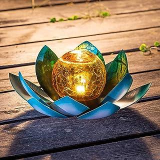 Huaxu Solar Light Outdoor Metal Glass Decorative Waterproof Garden Light LED Lotus Flower Table Lamp