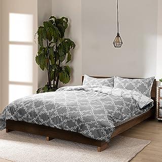 Viewstar Bedding Sets Housse de Couette 220 x 240cm avec Fermeture avec 2 Taie d'oreiller 65x65cm Gris foncé Parure de lit...