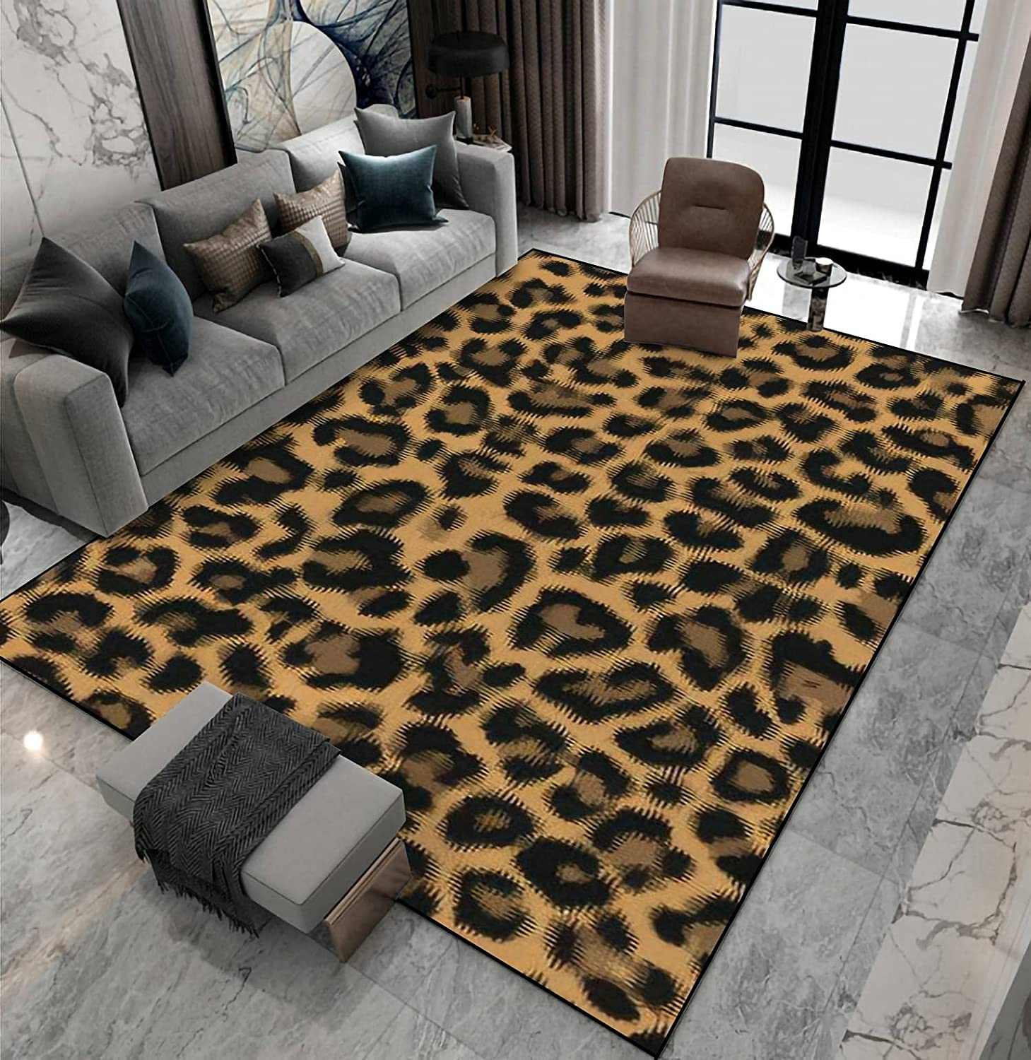 Area excellence Rug Max 47% OFF Non-Slip Floor Mat De Pattern Leopard Seamless Abstract