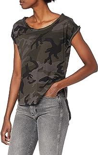 Urban Classics Ladies Camo Back Shaped tee Camiseta para Mujer
