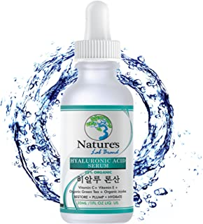 Organic Korean Beauty Hyaluronic Acid Serum for Face + Vitamin C Vitamin E - BEST Advanced Anti Aging formula Anti Wrinkle...