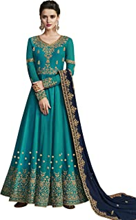 ZORY Indian Wedding Wear Sky Blue Color Faux Georgette Fabric Viscose Embroidery Pakistani Wedding Dresses For Women (Semi...