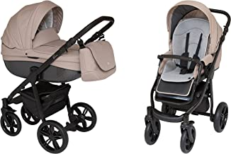ROAN BASS Soft Stroller 2-in-1 with Bassinet for Baby, Toddler's Five Point Safety Reversible Seat, Swivel Air-Inflated Wheels, Unique Shock Absorbing System and Great Storage Basket (Smoky Beige)