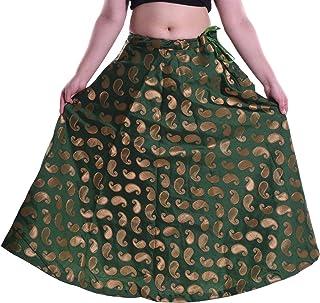 SNEH Women's Paisley Chanderi Brocade Skirt (Green,Free Size)