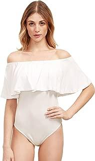 off the shoulder ruffle bodysuit white