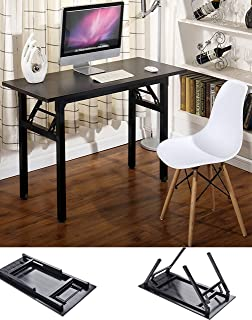 """Writing Computer Desk Office Desk 39.37"""" Folding Computer Table Workstation Folding Laptop Table,Home Office Desk, No Assembly Needed"""