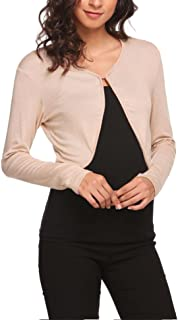 Donkap Women Bolero Long Sleeve/Short sleeve Versatile Shrug Cardigan Open Front Crop Top