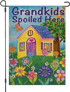 Best LOYOKI Grandkids Spoiled Here Garden Grandpa Grandma House Flag Burlap Double Sided Yard Outdoor Decoration 12.5 x 18 Inch Review