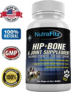 Hip Bone and Joint Supplement for Dogs - Glucosamine Chondroitin for Dogs, MSM, Turmeric - Arthritis Pain Relief, Hip Dysplasia, ACLs - Best Dog Joint Supplement for Joint Support - 120 Tablets