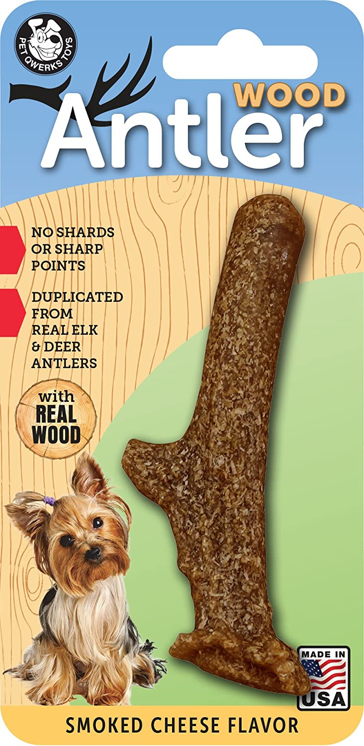 Pet Qwerks REAL WOOD Antler Smoked Flavor - Large discharge sale Durable Cheese Japan's largest assortment Dog