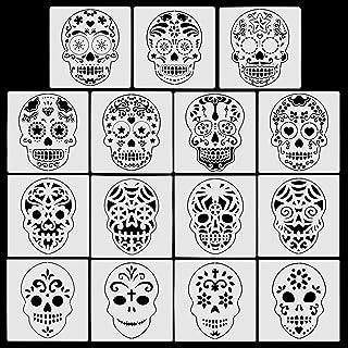 HOWAF 16pcs Mexicain Crâne Pochoirs pour Enfants Halloween Artisanat Dessin Peinture, Mexicaine Tête de Mort Pochoirs Modè...