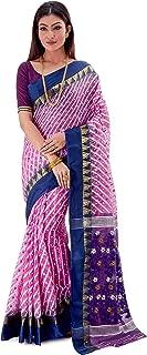 SareesofBengal Women's CottonSilk Handloom Jamdani Dhakai Saree Pink And Blue
