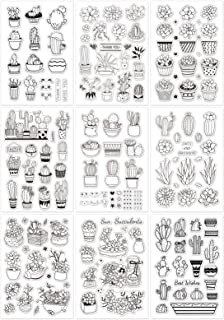GLOBLELAND 9 Feuilles de Cactus Ensemble Tampons Transparents Cartes de Timbre en Silicone pour la Fabrication de Cartes e...