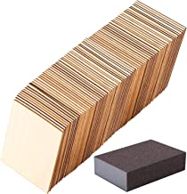 Ruisita 80 Pieces 4 x 4 Inch Square Unfinished Blank Wood Pieces with 1 Pack Sanding Sponge for Painting Writing and DIY A...