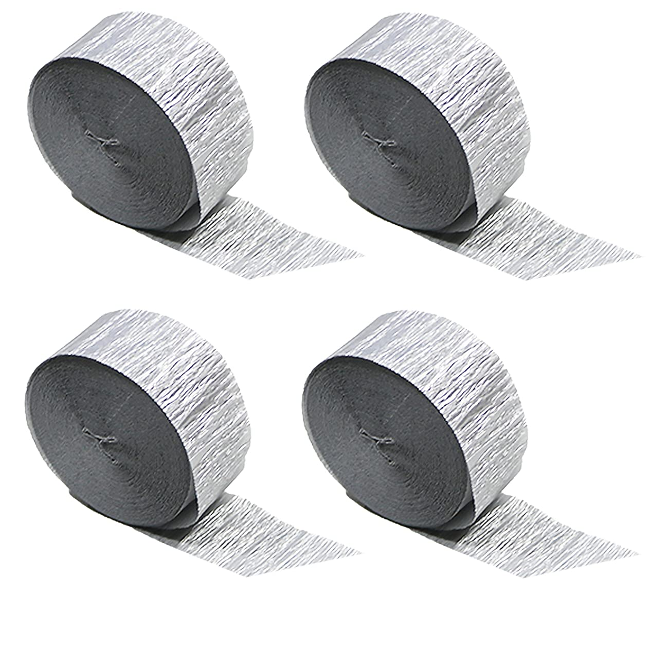 Silver Metallic Crepe Paper Streamers 4 Rolls, 290 Feet Total, Made in USA