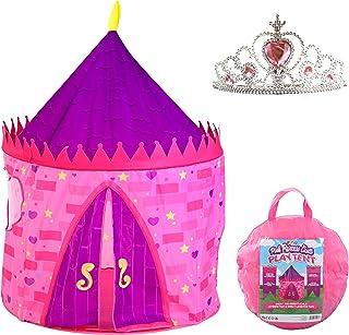 JOYIN Girls Princess Pink Castle Play Tent with Princess Crown Pop Up Play Tent Kids Indoor Outdoor Playhouse Tent Set