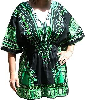 Raan Pah Muang RaanPahMuang Ladies Black Dashiki Shirt Elastic Pull in Waist V-Collar