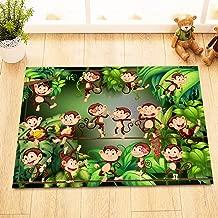 LB Cute Monkeys in Jungle Decor Rugs for Bathroom Bedroom, Soft Microfiber Surface Non Slip Rubber Backing, Cartoon Tropical Animal Theme Decor Rug 15 x 23 Inches