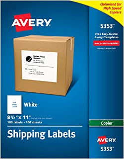 """Avery Shipping Labels for Copiers, 8-1/2"""" x 11"""", 100 White Labels (5353)"""
