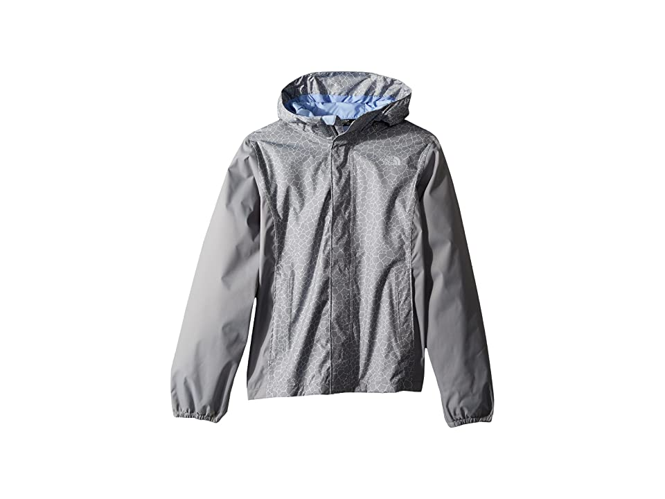 The North Face Kids Resolve Reflective Jacket (Little Kids/Big Kids) (Mid Grey Crackle Print/Mid Grey/Collar Blue) Girl