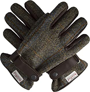 Walker & Hawkes - Mens Scottish Harris Tweed Overcheck Country Leather Gloves