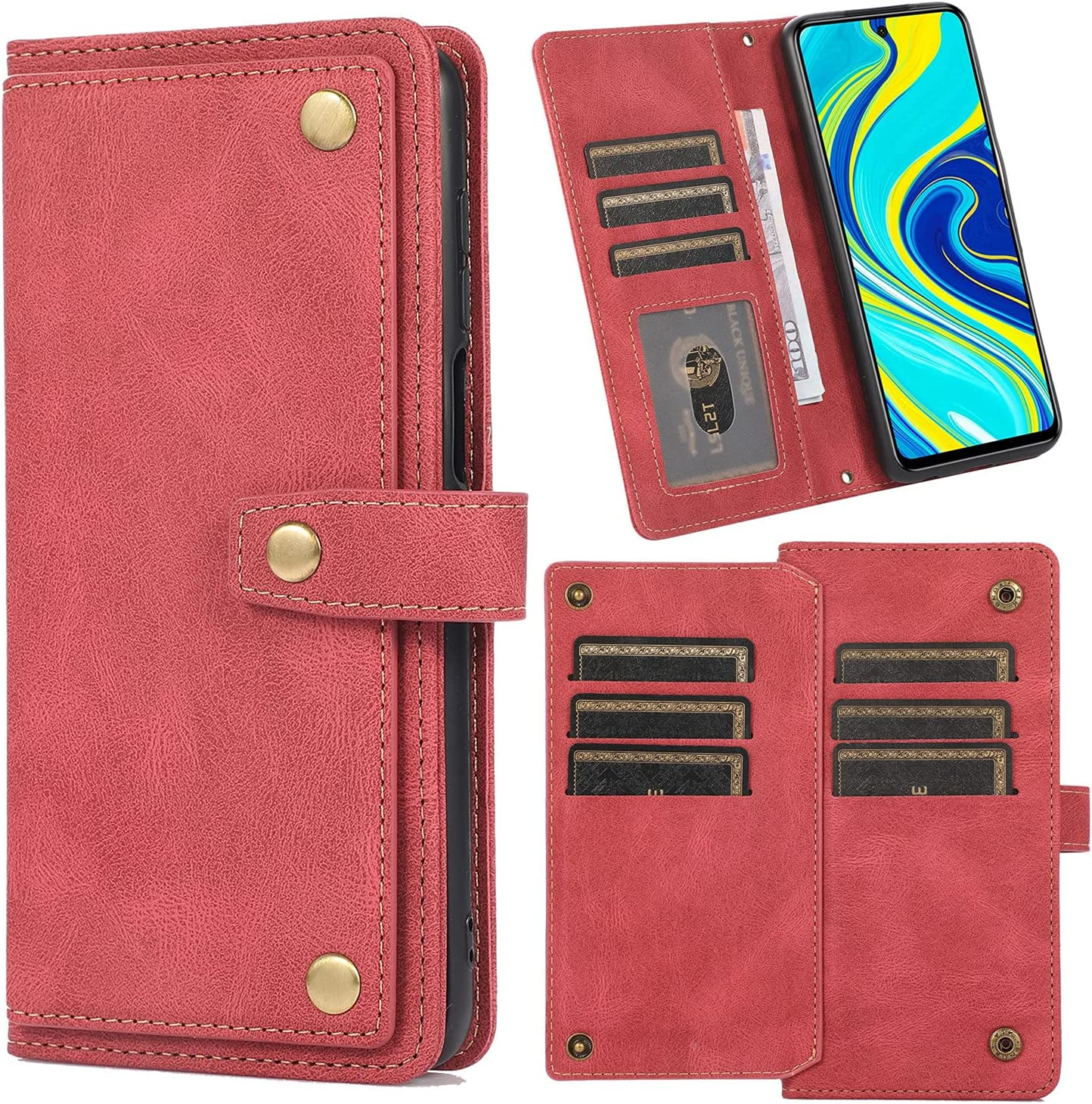 XYX Wallet Case for Samsung S7 Edge, Crossbody Chain Purse Wrist Leather Case Cover with 9 Card Slot for Galaxy S7 Edge, Red