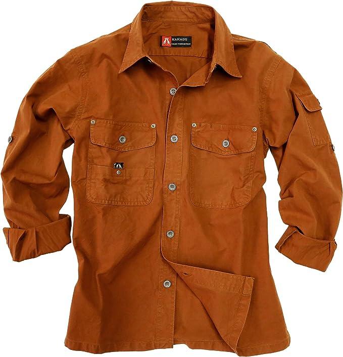 Outdoor de Safari de algodón camisa de Señor de ligero, manga larga camiseta de hasta 5 X l disponible