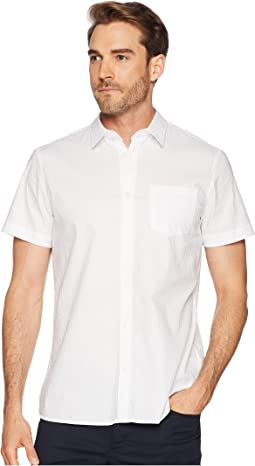 Short Sleeve Set On Placket Tonal Seersucker Button Down