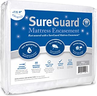 Full (6-8 in. Deep) SureGuard Mattress Encasement - 100% Waterproof, Bed Bug Proof, Hypoallergenic - Premium Zippered Six-Sided Cover