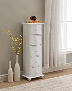 Kings Brand Furniture - Norwalk Wood 5 Drawer Accent Cabinet Chest, White
