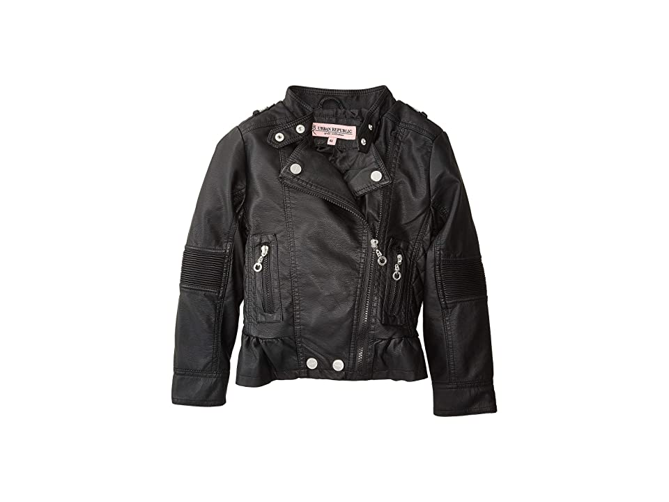 Urban Republic Kids Alice Faux Leather Moto Jacket w/ Ribbed Elbow and Peplum (Little Kids/Big Kids) (Black) Girl