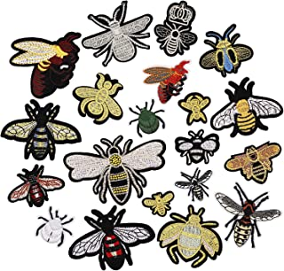 20pcs Bee Bumblebee Insect Iron on Patches Embroidered Motif Applique Decoration Sew On Patches Custom Patches for DIY Jeans, Jacket, Kid's Clothing, Bag, Caps, Arts Craft Sew Making (Bee 20pcs)