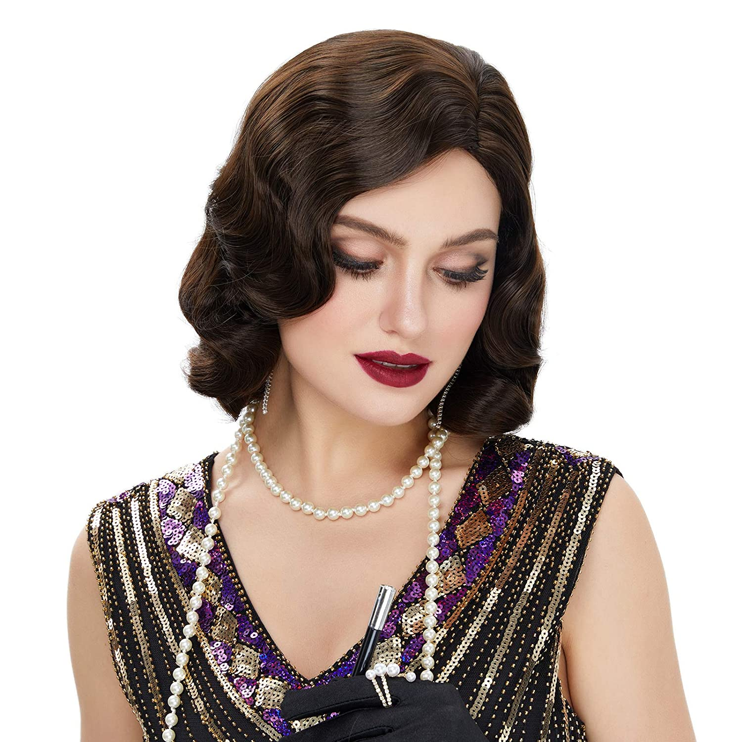 STfantasy Finger Wave Wig 1920s Time sale Retro Synt Long Length Ranking TOP15 Curly Mid