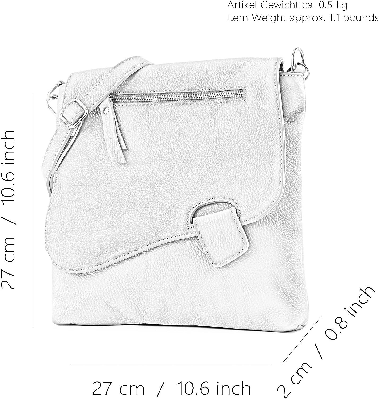 modamoda de - messager ital/sac à bandoulière en cuir T146 Crème Beige / Camel