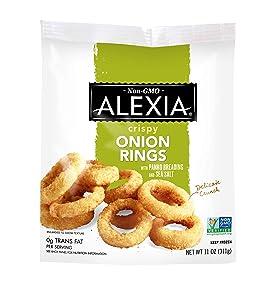 Alexia Crispy Onion Rings with Panko Breading and Sea Salt, Non-GMO Ingredients, 11 oz (Frozen)