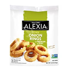 Alexia Crispy Onion Rings with Panko Breading and Sea Salt, Non-GMO Ingredients, 11 oz (Frozen)