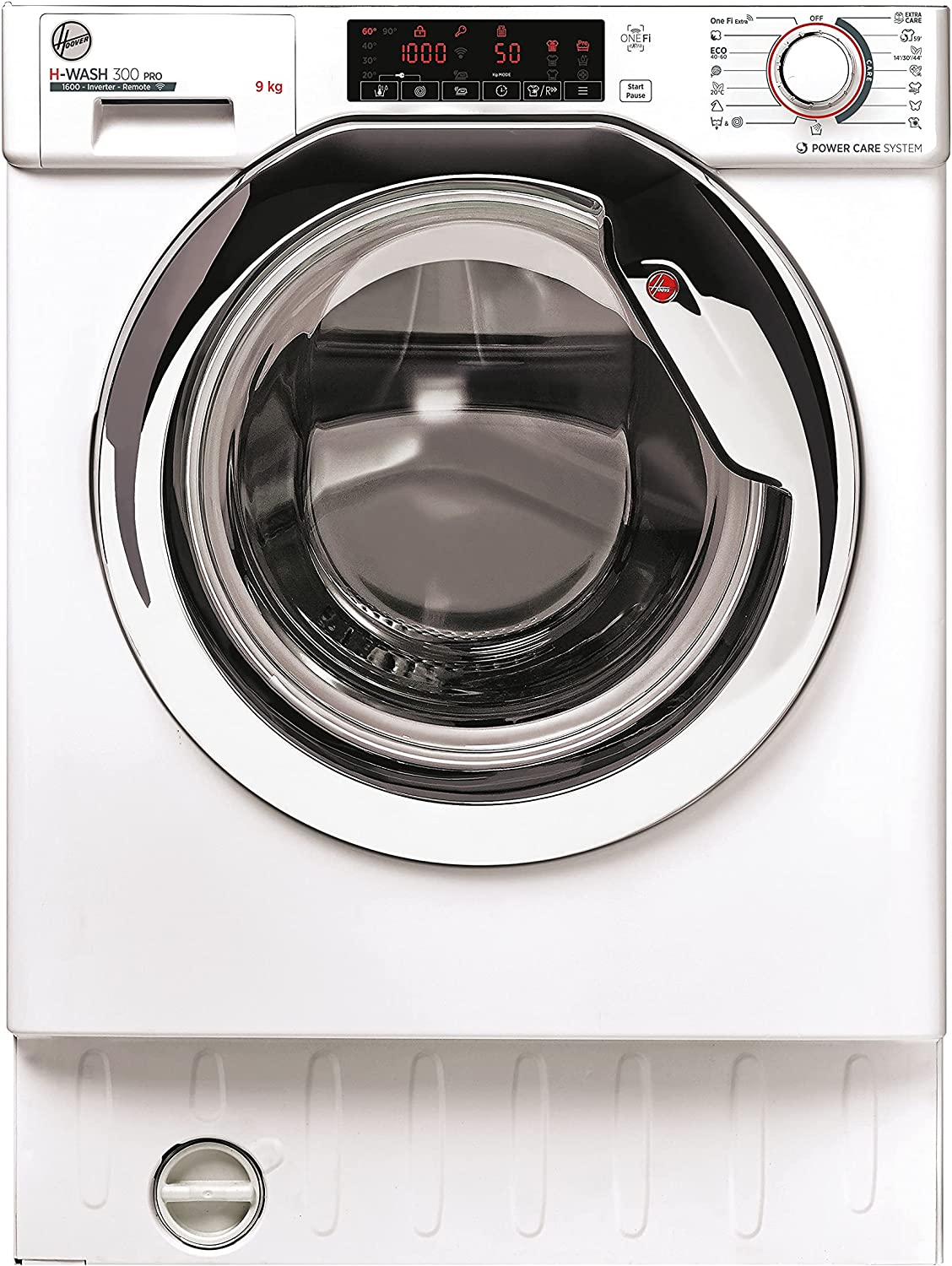 Hoover H-WASH 300 PRO HBDO485TAMCE/1-S, Lavadora integrable 9kg, 1600rpm, Motor Inverter, Wi-Fi, Ciclos Extra Care, All in One 59', Blanco, Clase A