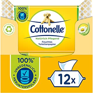 Cottonelle Feuchtes Toilettenpapier, Natürlich Pflegend - Kamille & Aloe Vera, Biologisch Abbaubar, Plastikfrei, Wiederver...
