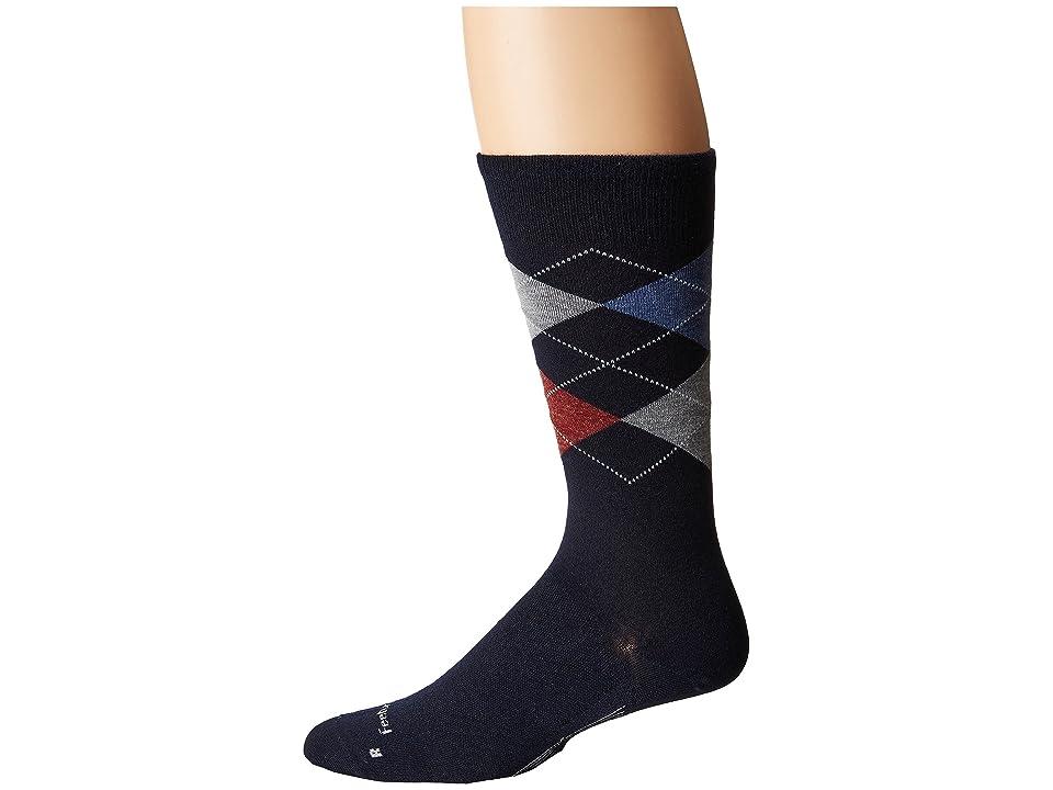Feetures Argyle Ultra Light Crew Sock (Navy) Crew Cut Socks Shoes