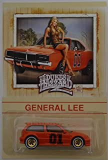 Hot Wheels Honda Civic EF Red Custom-Made with Whitewall Real Rider Rubber Wheels Limited Edition The Dukes of Hazzard General Lee Series 1:64 Scale Collectible Die Cast Model Car