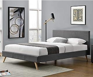 Lit Rembourré Moderne Solide avec Sommier à Lattes Lit Double Robuste Confortable Housse en Lin 200 x 140 cm Gris Foncé
