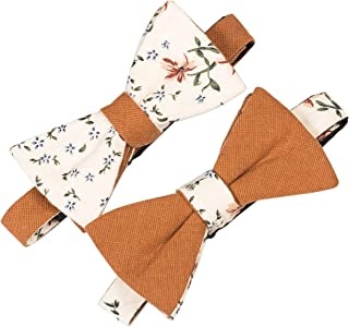 Lovacely Mens Cotton Floral Printed & Solid Color Self Tie Double Sided Bow Tie Wedding Party Bowtie - Various Styles