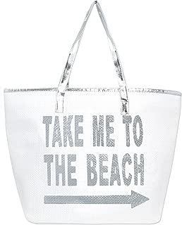 Metallic Trim Large Zipper Top Summer Themed Beach Bag Tote