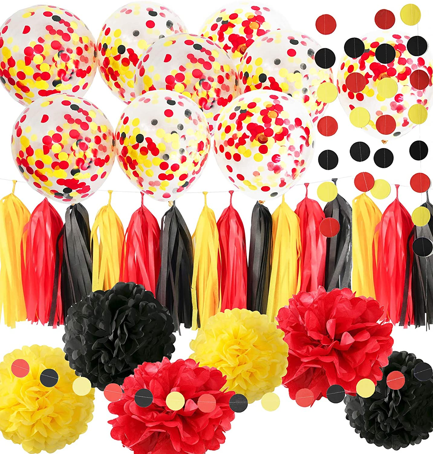 Mickey Mouse Birthday Decorations Mickey Mouse Party Supplies Yellow Black Red Confetti Ballons Fire Truck Birthday Banner,Minnie Mouse Birthday Party Decorations, Mickey Garland Banner