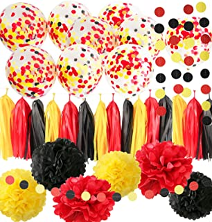 Qian's Party Mickey Mouse Birthday Decorations Mickey Mouse Color Party Supplies Yellow Black Red Confetti Ballons Tissue ...