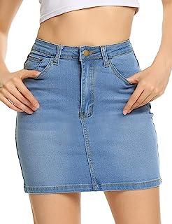 Chigant Womens Stretch High Waisted Short Mini Denim Skirt Jean Skirts