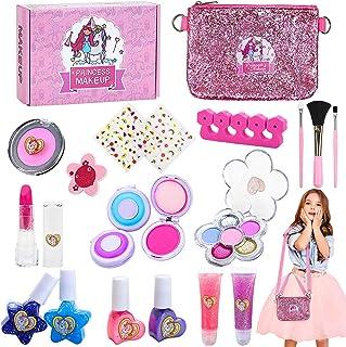 Jojoin Unicorno Trucchi Bambina Set, 20 Pezzi Lavabile Makeup Set per I Bambini con Borsa Doppia Funzione, 2 Clip di Color...