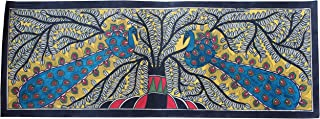 Framed Handpainted Two Peacocks Madhubani Painting On Handmade Silk Cloth Depicting Stories India Folklore Made by Artist of Bihar with History Which Dates Back The Days of Ramayana